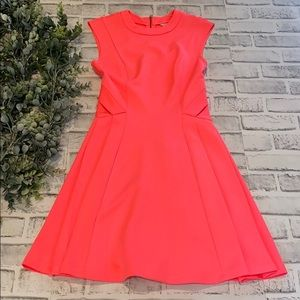 "Ted Baker ""Nested"" Neon Pink Flare Dress"